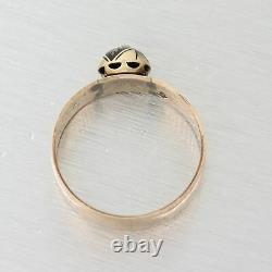 1850's Antique Victorian 14k Yellow Gold Rose Cut Diamond Band Ring
