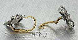 1860s Antique Victorian 14k Solid Yellow Gold Silver Diamond Bow Tie Earrings