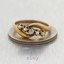 1870's Antique Victorian 14k Yellow Gold Rose Cut Diamond & Pearl Ring