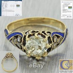 1880 Antique Victorian 18k Gold 1.04ctw Old Diamond Blue Enamel Engagement Ring