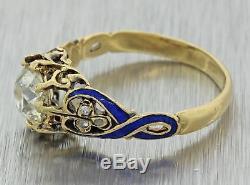 1880 Antique Victorian 18k Gold 1.04ctw Old Diamond Blue Enamel Engagement Ring