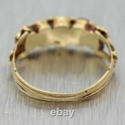 1880's Antique Victorian 14k Yellow Gold 0.50ctw Garnet Wedding Band Ring