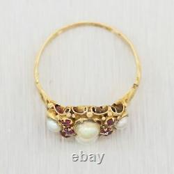 1880's Antique Victorian 14k Yellow Gold Ruby & Pearl Ring