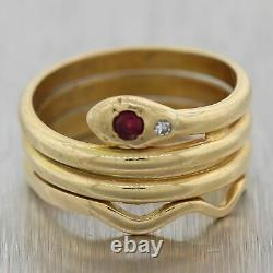 1880's Antique Victorian 18k Yellow Gold 0.12ctw Ruby & Diamond Snake Ring