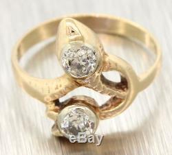 1880s Antique Victorian 14k Gold. 30ct Old European Cut Diamond Snake Ring