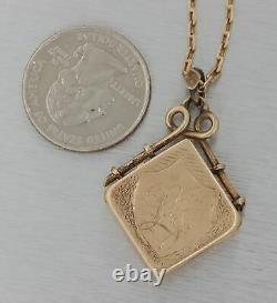 1880s Antique Victorian 14k Gold Floral Black Enamel Locket Pendant Necklace E8