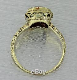 1880s Antique Victorian 14k Solid Gold 4ct Yellow Sapphire Engagmenet Ring