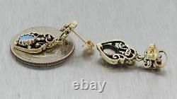 1880s Antique Victorian 14k Yellow Gold 1.00ctw Fire Opal Dangle Hanging Earring