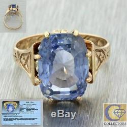 1880s Antique Victorian 14k Yellow Gold 8.34ct Unheated Ceylon Sapphire Ring EGL