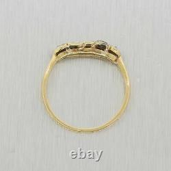 1880s Antique Victorian 14k Yellow Gold Rose Cut Diamond & Sapphire Wedding Band