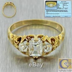 1880s Antique Victorian 18k Solid Yellow Gold. 74ctw Old Cut Diamond Ring EGL