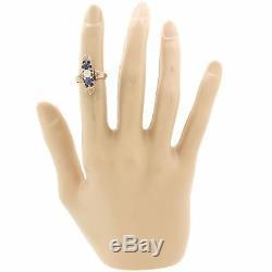 1880s Antique Victorian Estate 14k Rose Gold Diamond Sapphire Ring G8