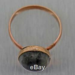 1880s Antique Victorian Estate 14k Rose Gold Labradorite Cocktail Ring
