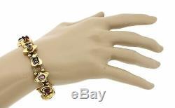 1880s Antique Victorian Estate 14k Yellow Gold Pearl Ruby Enamel Charm Bracelet