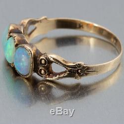1890's Antique Victorian 10k Yellow Gold Australian Fire Opal Ladies Ring 5.75
