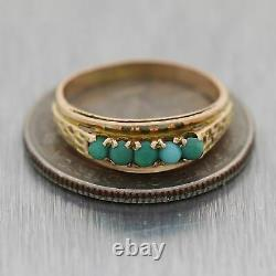 1890's Antique Victorian 14k Yellow Gold 0.25ctw Turquoise Band Ring
