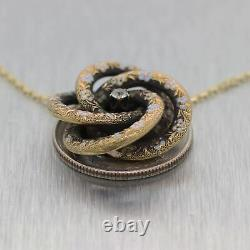 1890's Antique Victorian 14k Yellow Gold Diamond & Enamel Flower 19 Necklace