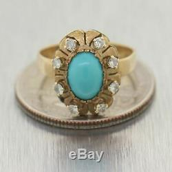1890's Antique Victorian 14k Yellow Gold Turquoise & 0.25ctw Diamond Ring