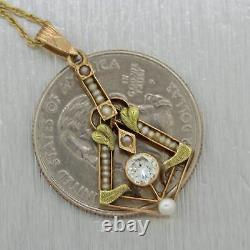 1890s Antique Victorian 14k Yellow Gold 0.33ct Diamond & Seed Pearl 16 Necklace