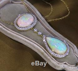 18k Opal Diamond Vintage Necklace Black Australian Pendant Huge 16.30 Carats