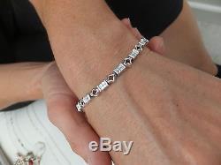18ct/18k gold 1.5ct princess cut Diamond heavy Art deco design bracelet, 750