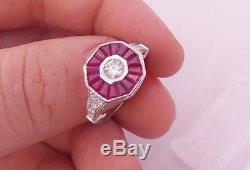 18ct/18k gold Diamond & Ruby Art deco design ring, 750