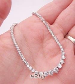 18ct/18k white gold 7ct graduated Diamond necklace, 750