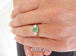 18ct gold emerald diamond ring, vintage 3 stone