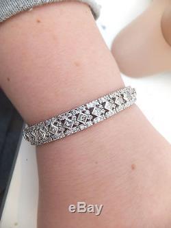 18ct gold exceptional 8.92ct round & princess cut Diamond large & heavy bracelet