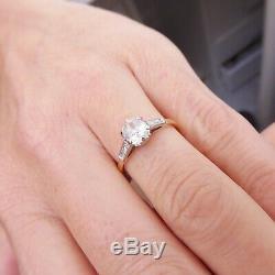 18ct gold platinum 3/4ct old cut diamond ring, art deco