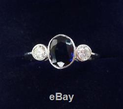 18ct white gold art deco 1ct Sapphire and Diamond three stone trilogy 18k ring