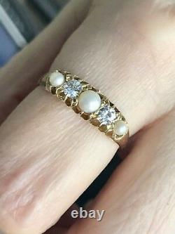 18k VICTORIAN PEARL OLD EUROPEAN CUT DIAMOND HALF HOOP BAND RING WEDDING ANTIQUE