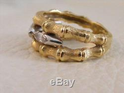 18k Yellow Gold Platinum Marquise Diamond Double BAMBOO BAND Ring Size 6.5