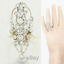 1910's Antique Art Nouveau Platinum & 18k Yellow Gold 1ctw Diamond Filigree Ring