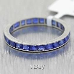 1920's Antique Art Deco French Cut Sapphire Platinum Wedding Band Ring