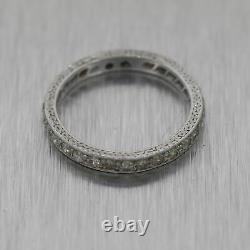 1920's Antique Art Deco Platinum 0.50ctw Diamond Engraved Eternity Wedding Band