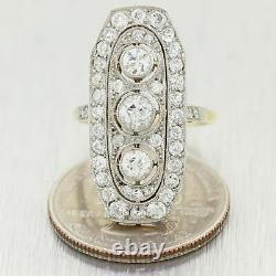 1920's Antique Art Deco Platinum & 14k Yellow Gold 2.40ctw Diamond Ring