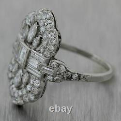 1920's Antique Art Deco Platinum 2.25ctw Diamond Cocktail Ring