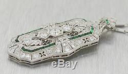 1920's Antique Art Deco Platinum 2.5ctw Diamond & Emerald Pendant 16 Necklace