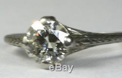 1920's Antique Platinum 1 Carat 6.5mm Diamond Engagement Ring