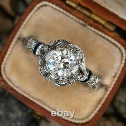 1920's Antique Vintage 2.75Ct Round Cut Diamond 14K White Gold Engagement Ring