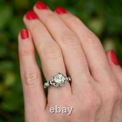 1920's Antique Vintage 2.80Ct Round Cut Diamond 14K White Gold Engagement Ring