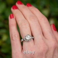 1920's Antique Vintage Engagement Ring 1.9Ct Round Diamond 14K White Gold Filled