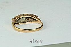 1920's Art Deco Antique Diamond Platinum And 14k Gold Wedding Ring Size 6