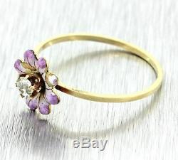 1920s Antique Art Deco 14k Gold Diamond Pink Enamel Pansy Daisy Flower Ring