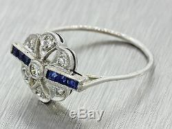 1920s Antique Art Deco 14k Gold Platinum Top. 28ctw Diamond Sapphire Ring
