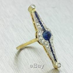1920s Antique Art Deco 18k Gold Platinum Sapphire Rose Cut Diamond Ring
