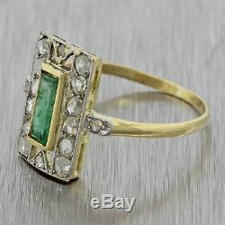 1920s Antique Art Deco 18k Solid Gold Emerald. 40ctw Rose Cut Diamond Ring