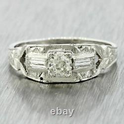 1920s Antique Art Deco Estate 18k Solid White Gold Diamond Engagement Ring