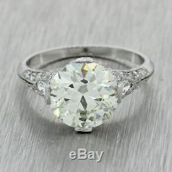 1920s Antique Art Deco Estate Platinum 3.27ctw OE Diamond Engagement Ring EGL